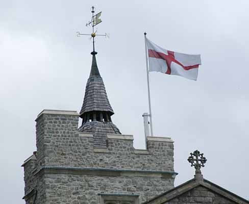 Crusader flag over church